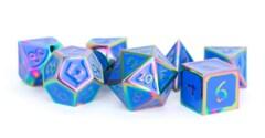 Rainbow with Blue Enamel 16mm Polyhedral Dice Set