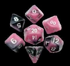 Mini Polyhedral Dice Set - Pink/Black w/White Numbers