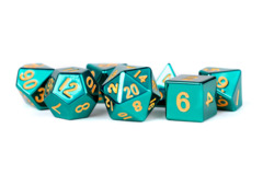 Turquoise with Gold Numbers 16mm Polyhedral Dice Set
