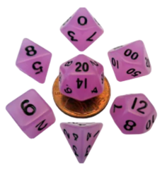 Mini Polyhedral Dice Set - Glow Purple