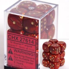 Chessex 27614 Dice d6 Set: Scarlet with Gold - 16mm Six Sided Die (12) Block of Dice