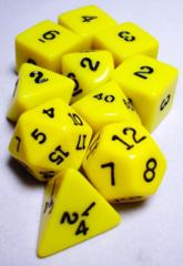 Koplow - Polyhedral - Yellow and Black 10 Dice Set in Tube
