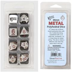 Koplow - 20mm Metal Polyhedral - Silver and Red 7 Set