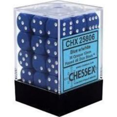 Chessex 25806 Opaque Blue W/ White 12mm d6 36 Dice Block
