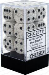 Chessex 25711 Dice d6 Set: Arctic Camo - 16mm Six Sided Die (12) Block of Dice
