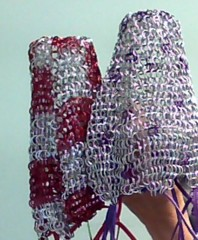 Kittensoft Chainmail Large Color Dice Bag With Leather String (LR/LC-A/C) Aluminum Color Silver with Pink or Silver with Blue