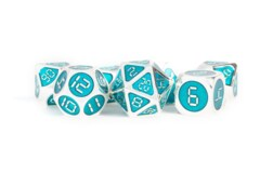 Silver with Teal Enamel Digital 16mm Polyhedral Dice Set