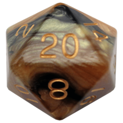 Black/Yellow with Gold Numbers 35mm Mega Acrylic d20 Dice