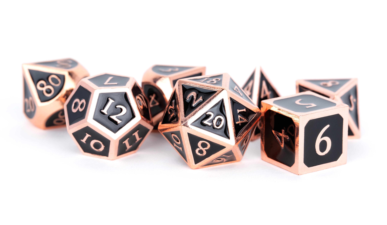 Antique Copper with Black Enamel 16mm Polyhedral Dice Set