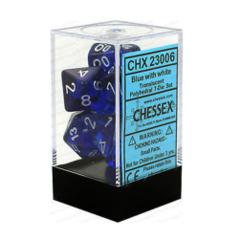Chessex 23006 Translucent Blue W/ White 7 Dice Set