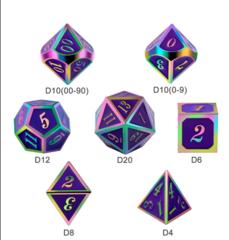 DAD533  Metal & Enamel Dice Set (7pcs) [Royal Purple Irides]