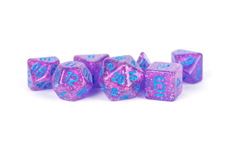 16mm Resin Flash Dice Poly Dice Set: Purple