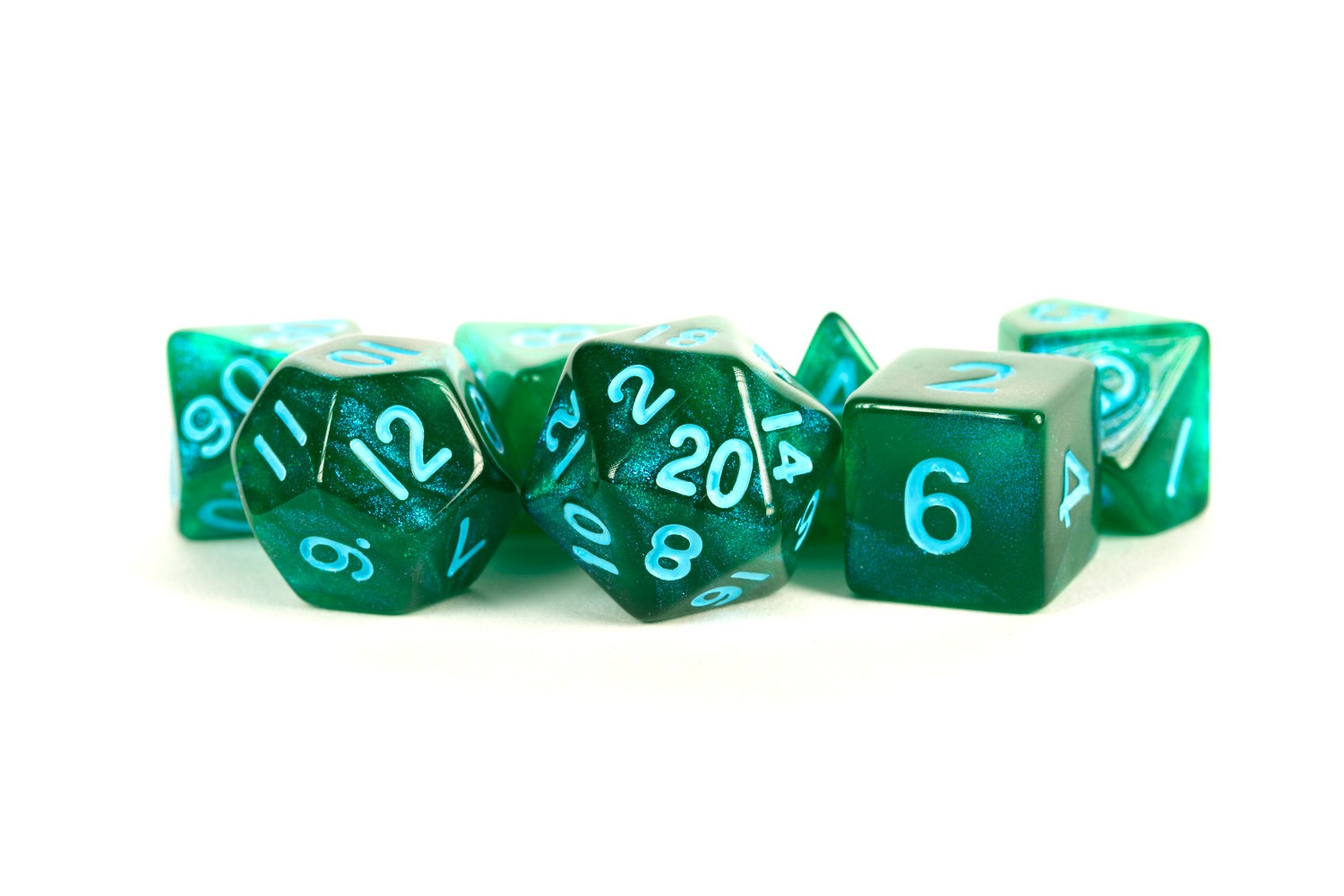 Stardust Green w/ Blue Numbers 16mm Polyhedral Dice Set