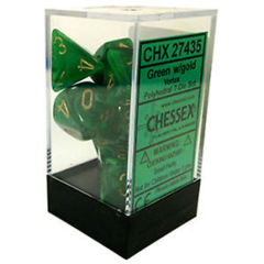 Chessex 27435 Vortex Green/Gold Polyhedral 7 Dice Set