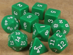 Koplow - Polyhedral - Green and White 10 Dice Set in Tube