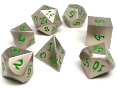 Metal Dice of Ancient Dragons - Ancient Silver with Green Dragon Font