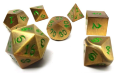Metal Dice of Ancient Dragons - Ancient Gold with Green Dragon Font