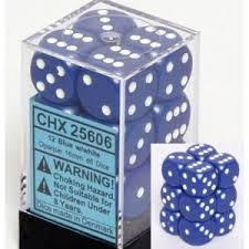 Chessex 25606 Dice d6 Set: Blue/White - 16mm Six Sided Die (12) Block of Dice