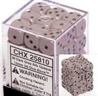 Chessex 25810 Opaque Grey W/ Black 12mm d6 36 Dice Block