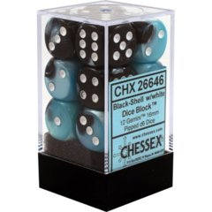 Chessex 26646 Dice d6 Set: Black Shell with White - 16mm Six Sided Die (12) Block of Dice
