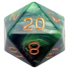 Green/Light Green with Gold Numbers 35mm Mega Acrylic d20 Dice