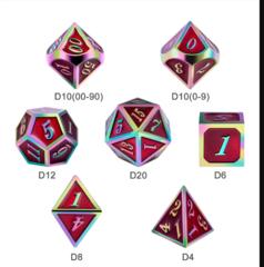 DAD530  Metal & Enamel Dice Set (7pcs) [Red Iridescence]