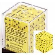 Chessex 25802 Opaque Yellow W/ Black 12mm d6 36 Dice Block