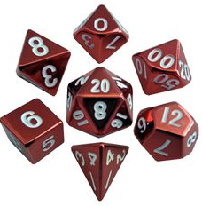 Metal D&D Red Dice with White Number