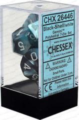 Chessex 26446 Gemini Polyhedral 7-Die Set Black Shell/White