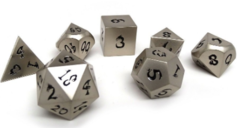 Metal Dice of Ancient Dragons - Ancient Silver with Black Dragon Font