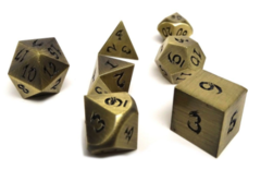 Metal Dice of Ancient Dragons - Ancient Bronze/Gold with Black Dragon Font