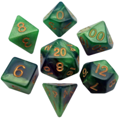 Green/Light Green with Gold Numbers 16mm Polyhedral Dice Set