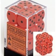 Chessex 25603 Dice d6 Set: Orange/Black - 16mm Six Sided Die (12) Block of Dice