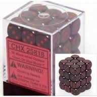 Chessex 25818 Opaque Black W/ Red 12mm d6 36 Dice Block