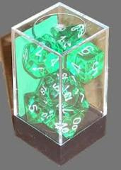 Chessex 23005 Translucent Green W/ White 7 Dice Set