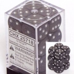 Chessex 25718 Dice d6 Set: Ninja - 16mm Six Sided Die (12) Block of Dice