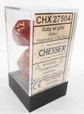 Glitter Ruby and Gold 7ct Polyhedral Dice Set - CHX27504