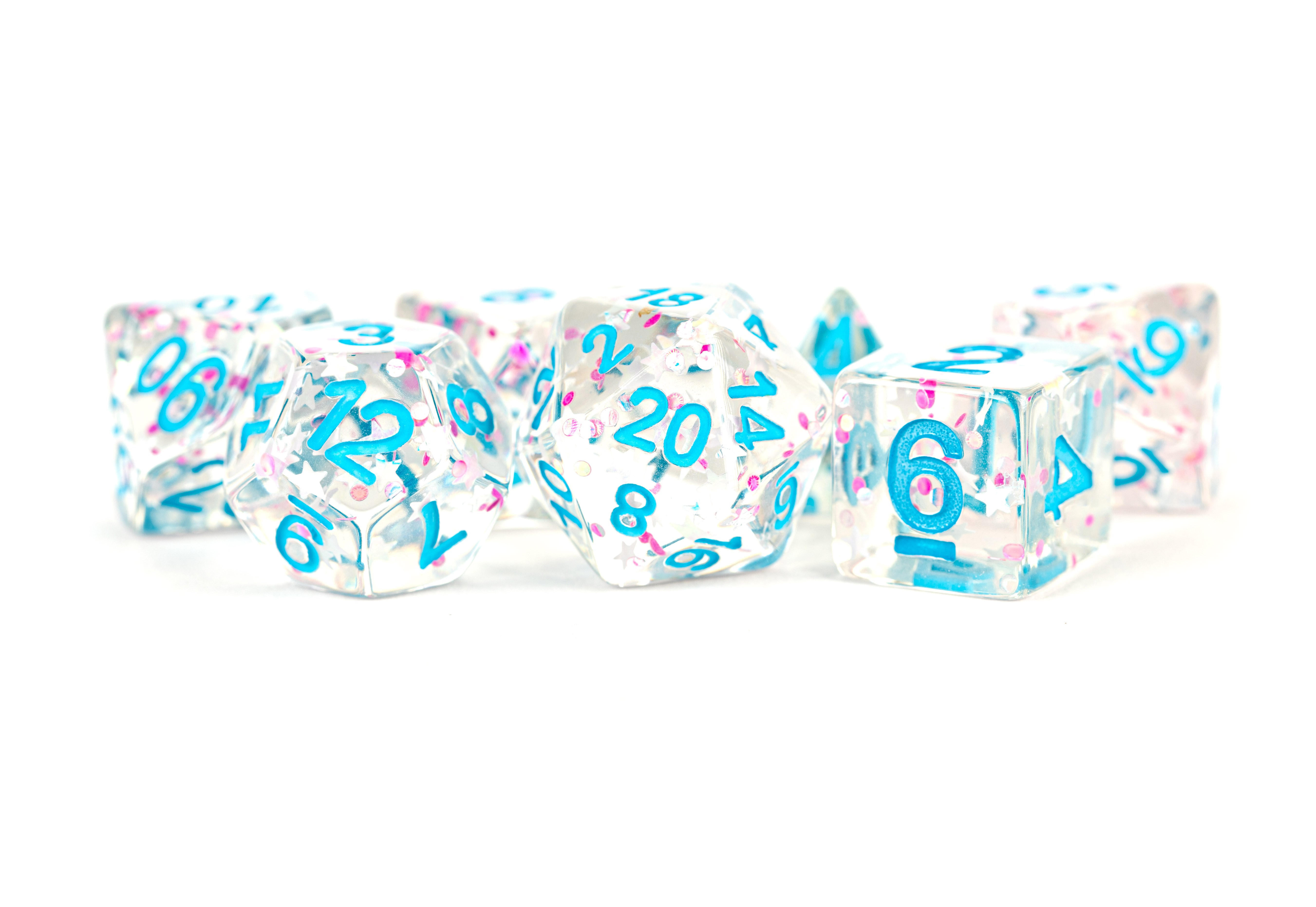 Clear Confetti 16mm Resin Poly Dice Set