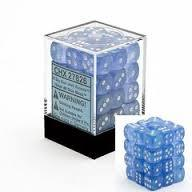 Chessex 27826 Dice d6 Set: Sky Blue W/White Borealis  - 12mm Six Sided Die (36) Block of Dice