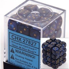 Chessex 27827  Royal Purple With Gold 12mm d6 36 Dice Block