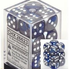 Chessex 26623 Dice d6 Ses: Gemini Blue & Steel with White - 16mm Six Sided Die (12) Block of Dice