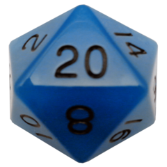Glow in the Dark Blue 35mm Mega Acrylic d20 Dice