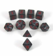 Charcoal Red Pearlized Polyhedral Mini Dice Set - 10pc Set in Tube