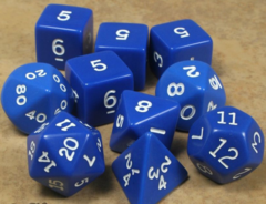 Koplow - Polyhedral - Blue and White 10 Dice Set in Tube