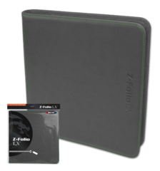 BCW Z-Folio LX - Gray with Green Stitch (20/12 Pocket Double Pages)