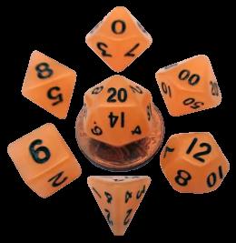 Mini Polyhedral Dice Set - Glow Orange