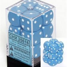 Chessex 25616 Dice d6 Set: Light Blue/White - 16mm Six Sided Die (12) Block of Dice