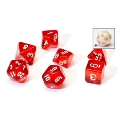 SIRIUS DICE 7CT TRANSPARENT POLY DICE SET - RED W/WHITE RESIN