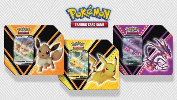 V Powers Tin - Set of 3 (Eevee, Pikachu & Eternatus)