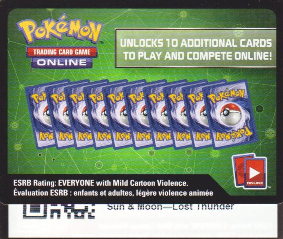 Lost Thunder: Unused Booster Pack TCGO Code Card